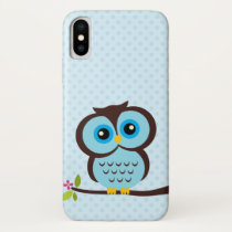 Adorable Blue Owl Illustration iPhone X Case