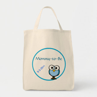 Adorable Blue Owl Mommy To Be Baby Shower Tote Bags