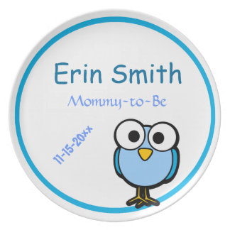 Adorable Blue Owl Mommy To Be Baby Shower Party Plates
