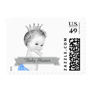 Adorable Blue Prince Baby Shower Postage