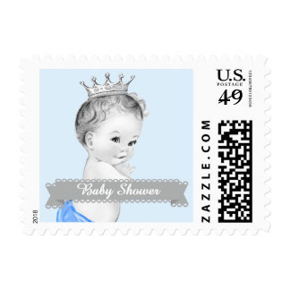 Adorable Blue Prince Baby Shower Stamp