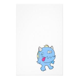 adorable blue tongue chomper monster stationery design