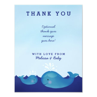 Adorable Blue Whale Nautical Baby Shower Thank You Card