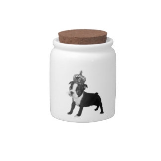 Adorable BOSTON TERRIER Puppy DOG Crown Candy Dish