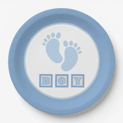 Adorable Boy Blue Baby Feet - Gender Reveal Paper Plate