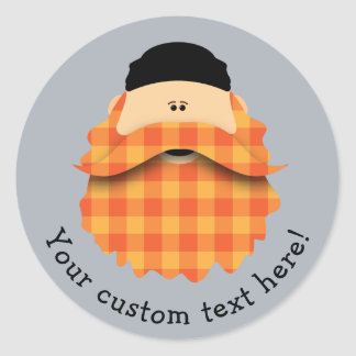 Adorable Bright Orange Plaid Bearded Character Classic Round Sticker