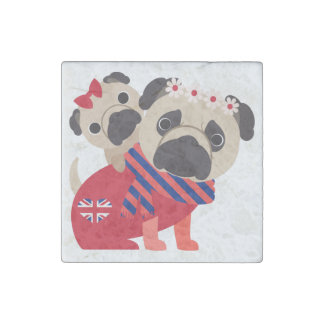 Adorable British Pug Gifts and Home Decor Stone Magnet