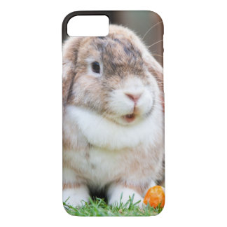 Adorable Brown Black and White Bunny With Carrot iPhone 7 Case