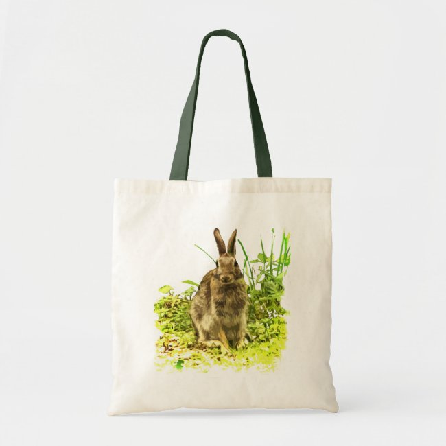 Adorable Brown Bunny Rabbit Green Grass Tote Bag