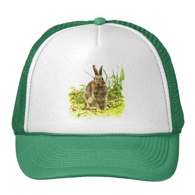 Adorable Brown Bunny Rabbit in Green Grass Hat