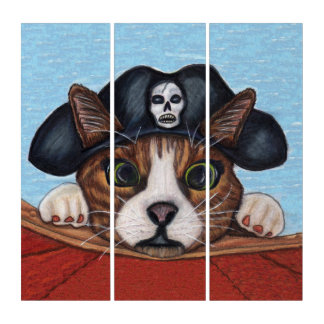 Adorable Brown Cat Green Eyes Pirate Hat Boat Triptych