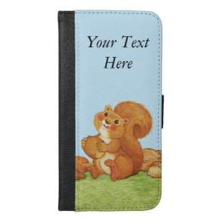 Adorable Brown Fluffy Squirrel With Acorns Nuts iPhone 6/6s Plus Wallet Case