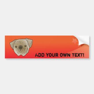 Adorable brown pug bumper sticker car bumper sticker