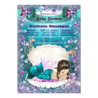 Adorable Brunette Mermaid Princess Baby Shower Card