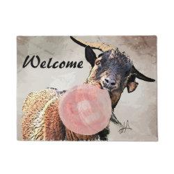Adorable Bubblegum Billy Goat Welcome DoorMat