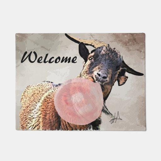 Adorable Bubblegum Billy Goat Welcome Doormat Zazzle