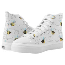 Adorable Bumble Bee Pattern High-Top Sneakers