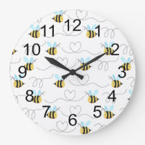 Adorable Bumble Bee Pattern Large Clock