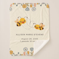Adorable Bumble Bees & Flowers Baby Birth Stats Sherpa Blanket