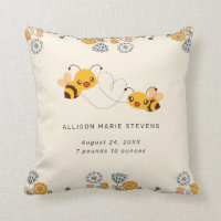 Adorable Bumble Bees & Flowers Baby Birth Stats Throw Pillow