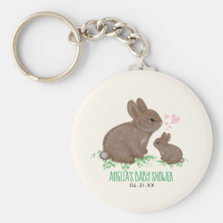 Adorable Bunnies Hearts Baby Shower Party Favors Keychain