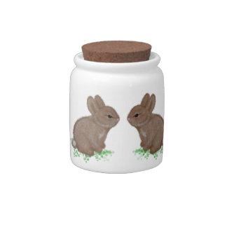 Adorable Bunnies in Clover Candy Jar