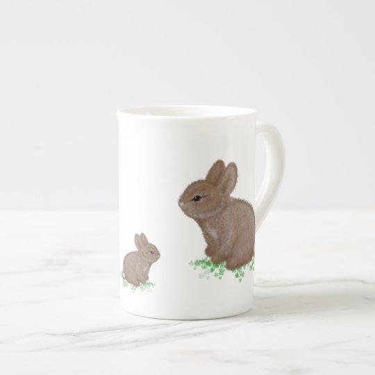 Adorable Bunnies in Clover Tea Cup