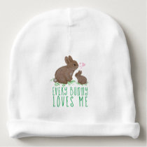 Adorable Bunnies in Clover with Hearts Baby's Name Baby Beanie