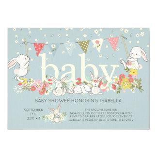 Adorable Bunny Boys Baby shower Invitation