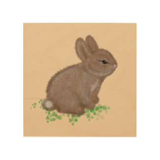Adorable Bunny (facing right) in Clover Painting Wood Wall Decor