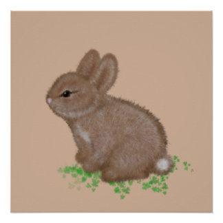 Adorable Bunny in Clover Painting Poster