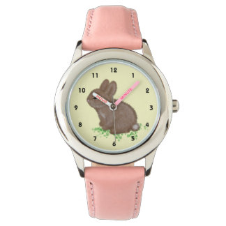 Adorable Bunny in Clover (right hand) Wristwatch
