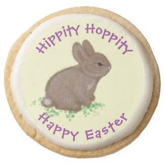 Adorable Bunny in Clover Round Shortbread Cookie