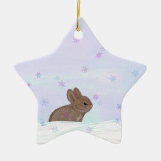 Adorable Bunny in Winter Ceramic Ornament