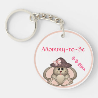 Adorable Bunny, Mommy-to-Be Baby Shower Keychain