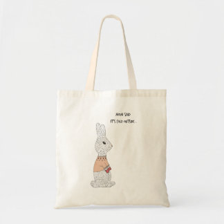 Adorable bunny wearing a sweater tote bag