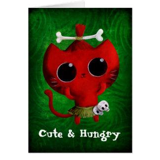 Adorable Cannibal Halloween Cat Card