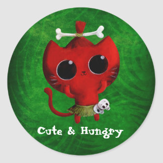 Adorable Cannibal Halloween Cat Classic Round Sticker
