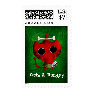 Adorable Cannibal Halloween Cat Postage Stamp