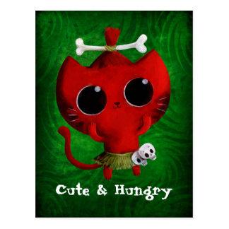 Adorable Cannibal Halloween Cat Postcard