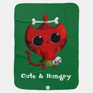 Adorable Cannibal Halloween Cat Swaddle Blanket