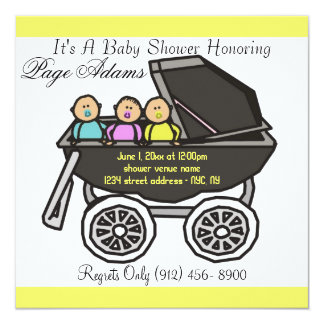Adorable Carriage Triplet Baby Shower Invitation