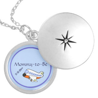 Adorable Cartoon Airplane for Mommy To Be Round Locket Necklace