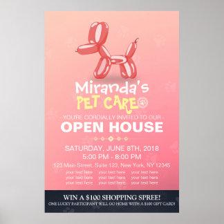Adorable Cartoon Dog Balloons Pet Shop Open House Poster