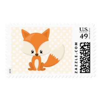 Adorable Cartoon Fox with Polka-Dot Background Postage