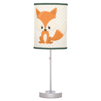 Adorable Cartoon Fox with Polka-Dot Background Table Lamp