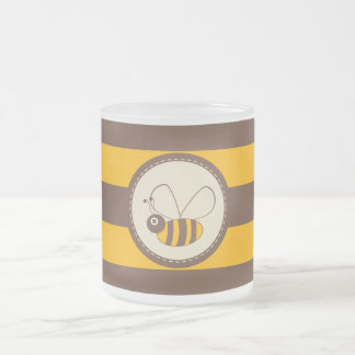 Adorable Cartoon Honey Bee Frosted Glass Coffee Mug