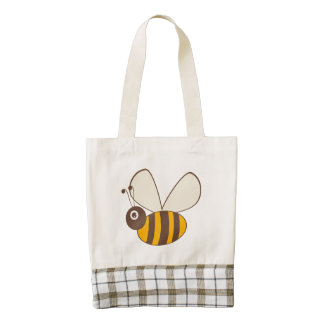 Adorable Cartoon Honey Bee Zazzle HEART Tote Bag