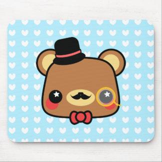 Adorable Cartoon Kawaii Bear Mustache Mousepad