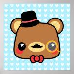 Adorable Cartoon Kawaii Bear Mustache Poster